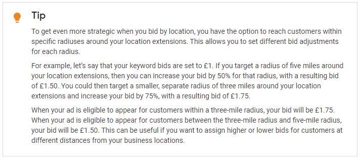 google location bidding tip