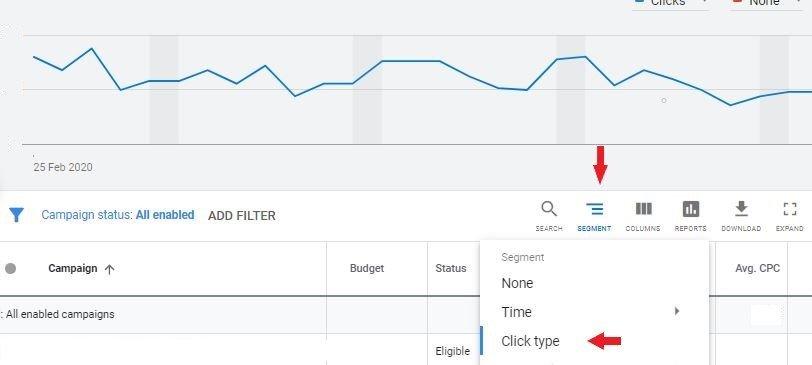 segment button in google ads