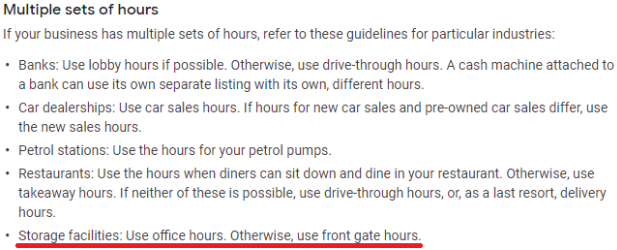 GMB Sets of Hours Guidelines