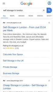 mobile search for storage in london