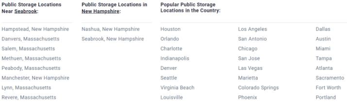 public storage location links