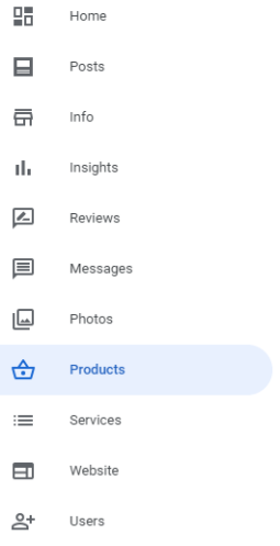 Products section menu example
