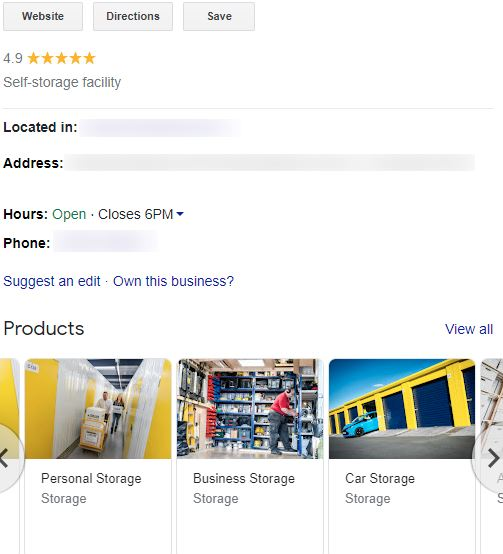 services in the products section